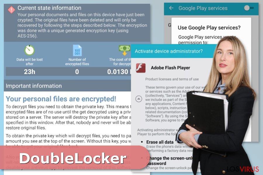 La imagen del ataque del ransomware DoubleLocker