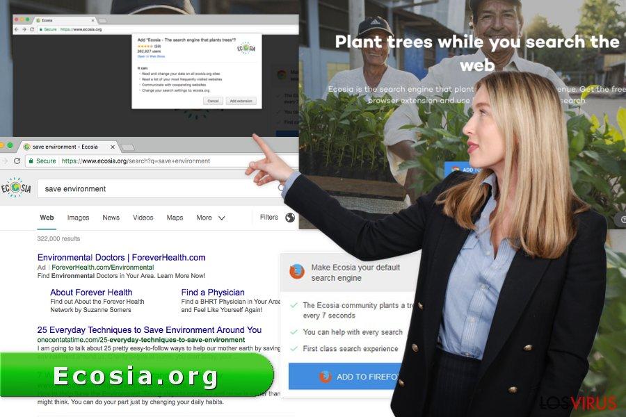 La imagen del virus Ecosia.org