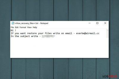 La nota de pago que muestra el ransomware Everbe