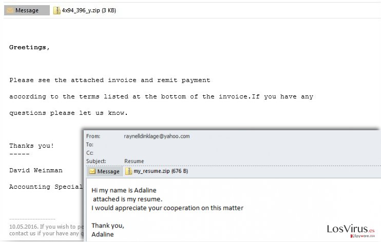 Spam usado para difundir el ransomware Cerber