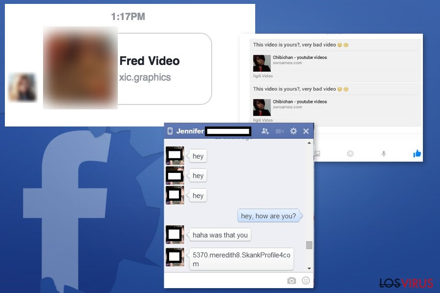 Ejemplos del virus Facebook Message