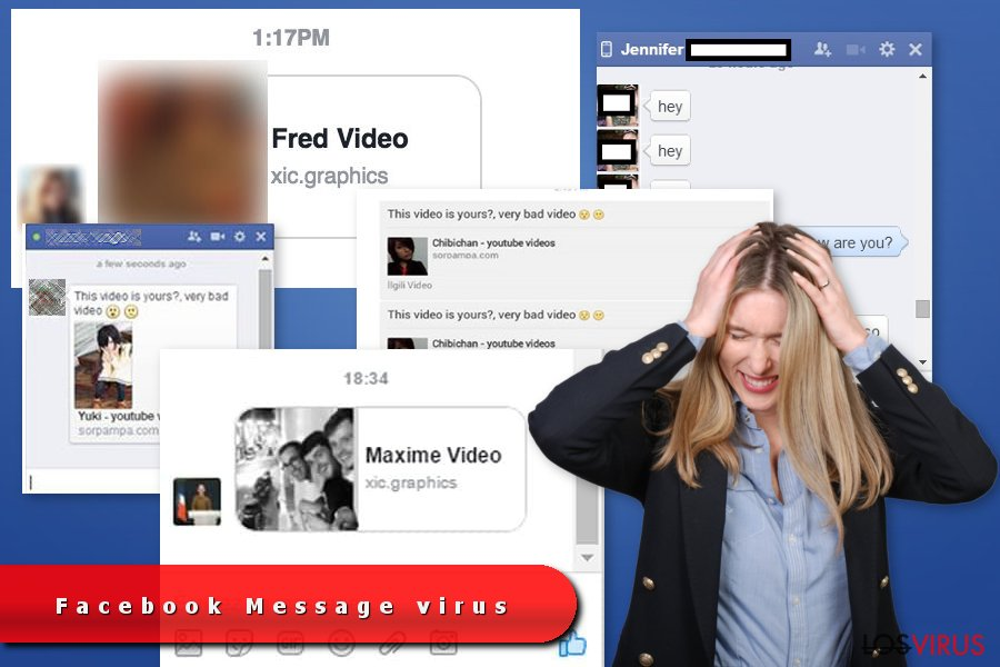 Los ejemplos del virus Facebook Message