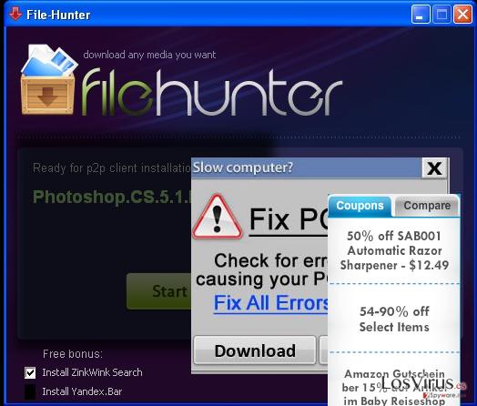 FileHunter virus displaying pop-up advertisements
