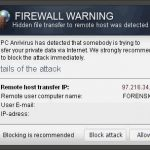 "El pop-up ""Firewall Warning"" foto"