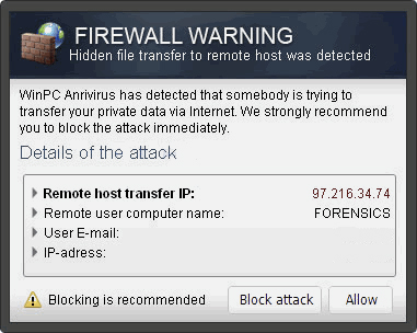 "El pop-up ""Firewall Warning"" foto"