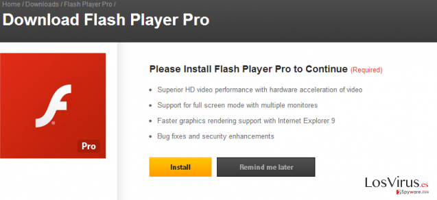 El virus Flash Player Pro foto