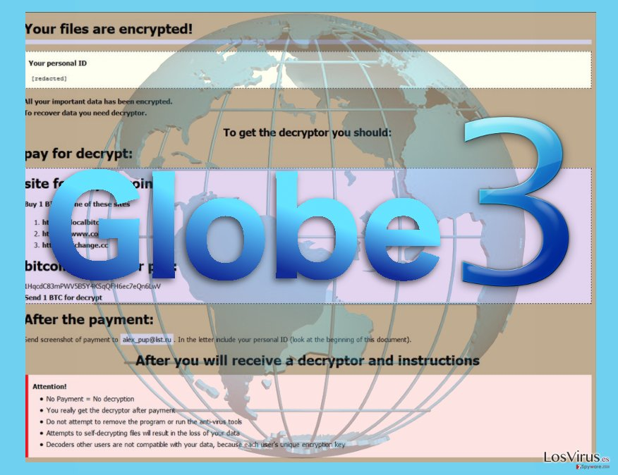 Image of the Globe 3 ransomware virus