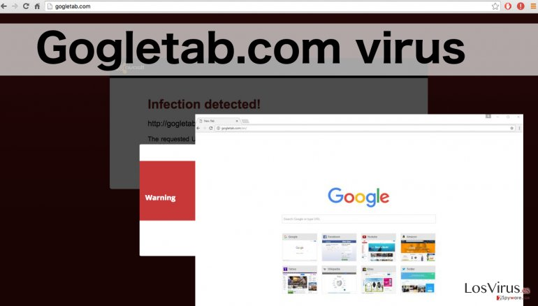 An illustration of Gogletab.com hijacker virus