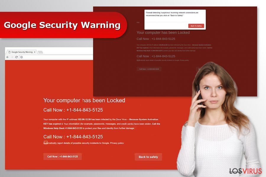 "Imagen de la estafa ""Google Security Warning"""