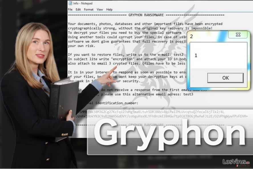 Ilustración del virus ransomware Gryphon