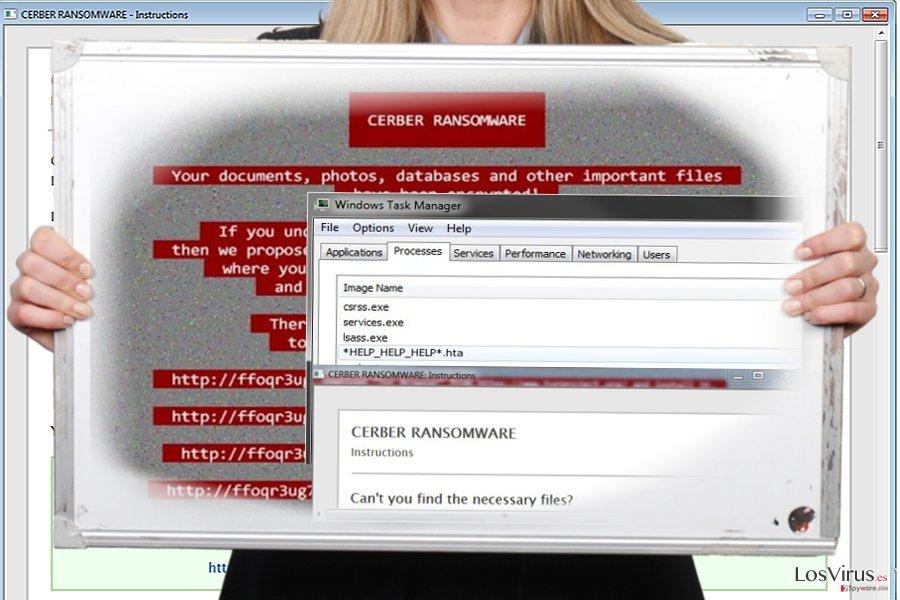 La captura de pantalla del virus Help_help_help