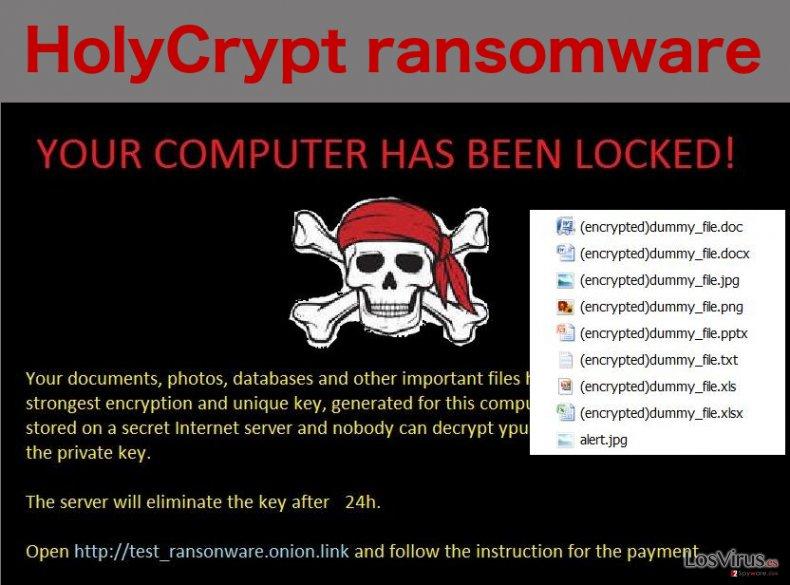 El virus ransomware HolyCrypt