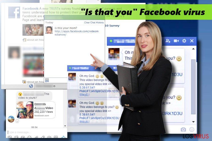 """Ilustración del virus Facebook """"Is that you"""""""