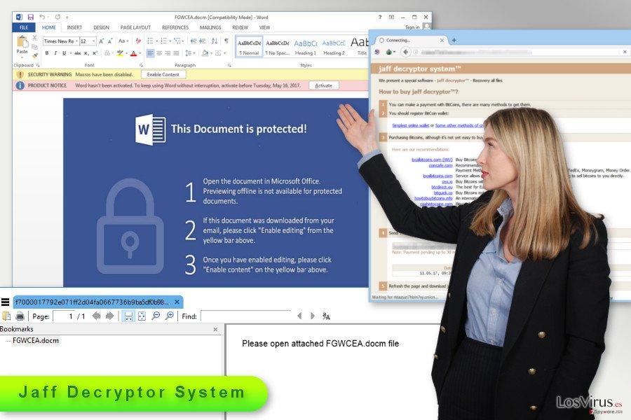 Ilustración del virus ransomware Jaff