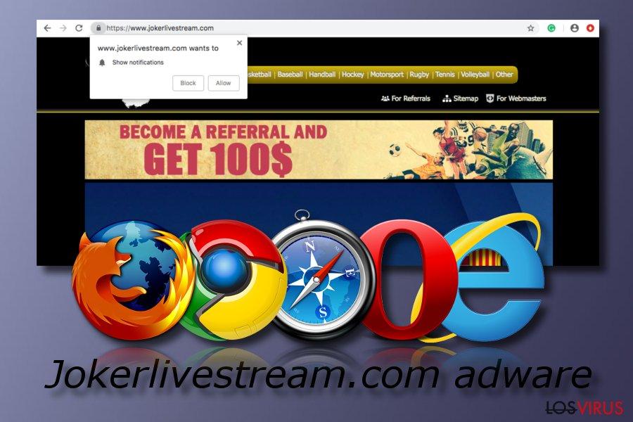 Programa adware Jokerlivestream.com