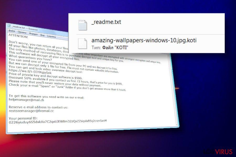 Nota del ransomware Koti