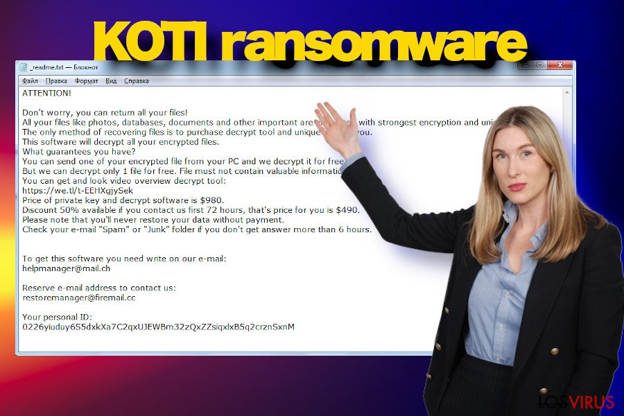 Ejemplo de nota de pago de Koti