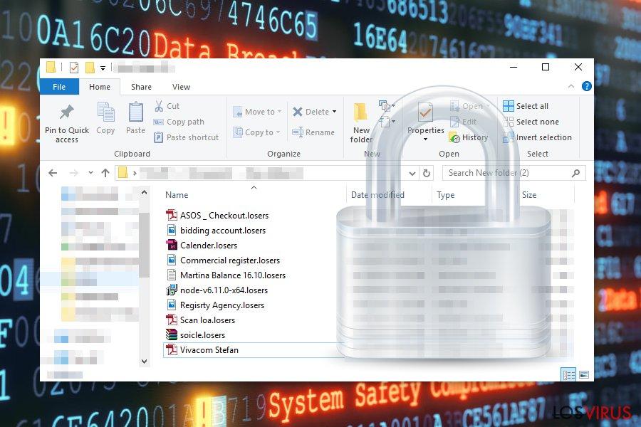 Archivos encriptados por el virus ransomware Losers