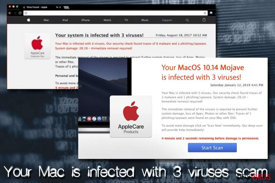 Virus Mac - Your Mac is infected with 3 viruses