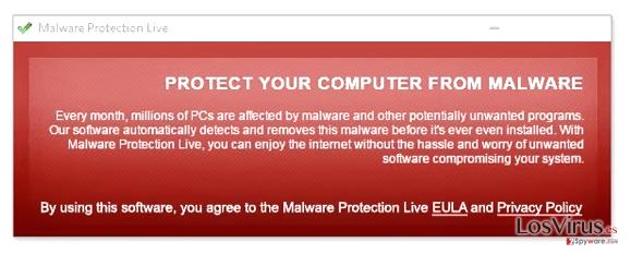 Malware Protection Live fake pop-up warning