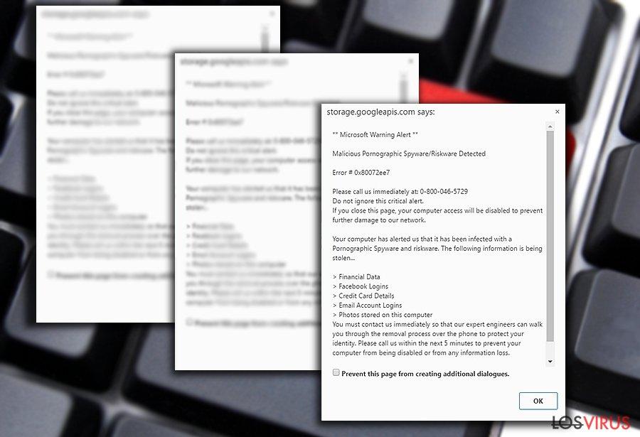 """La imagen que muestra """"Malicious Pornographic Spyware/Riskware Detected"""""""