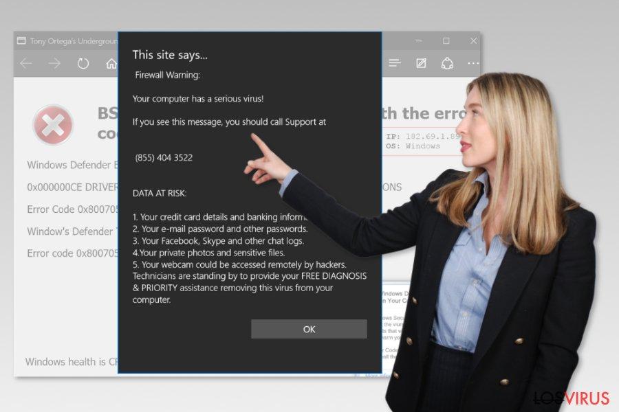 Virus estafa de soporte técnico de Microsoft Edge