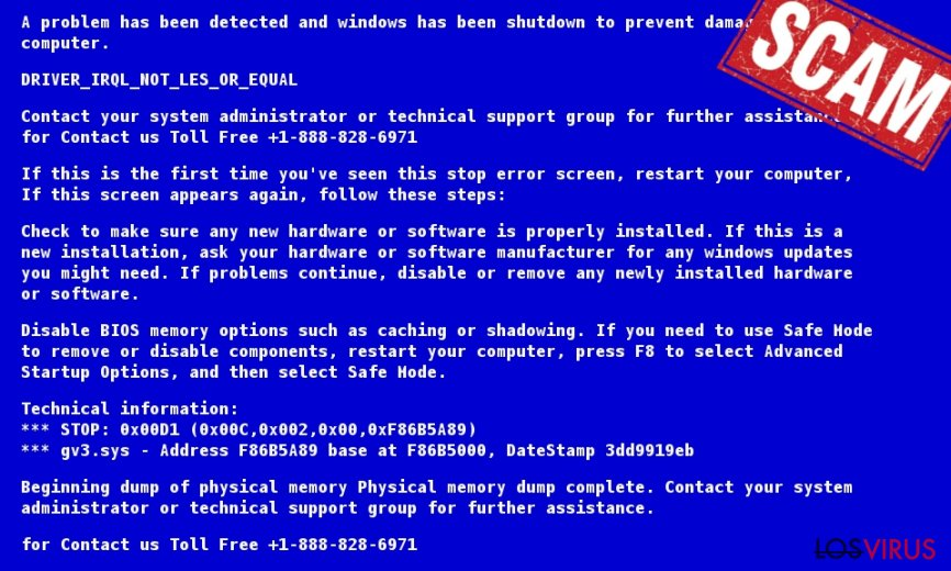 Ejemplo de la notificación de Microsoft Help Desk Tech