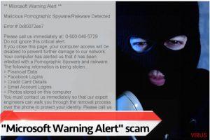 "Virus estafa de soporte técnico ""Microsoft Warning Alert"""