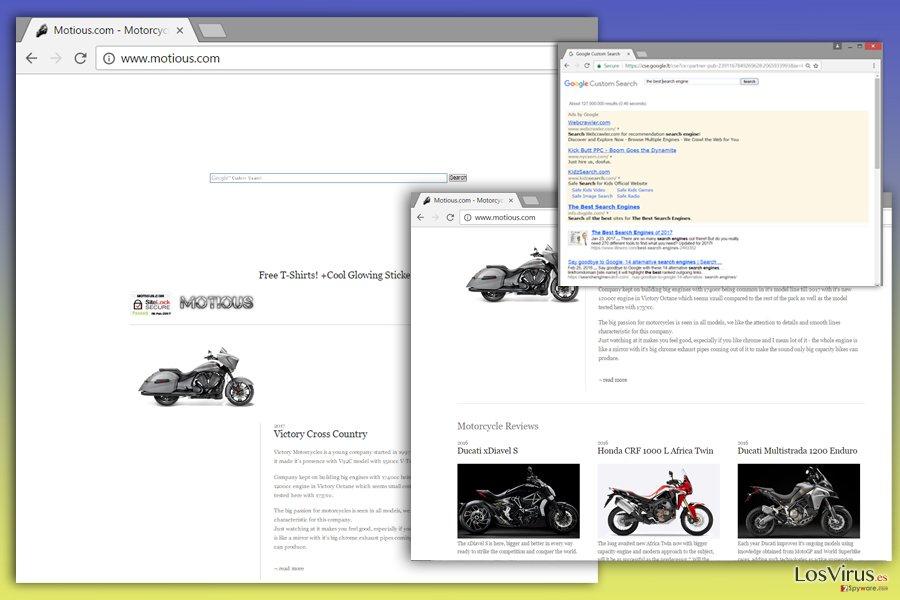 Imagen del virus Motious.com