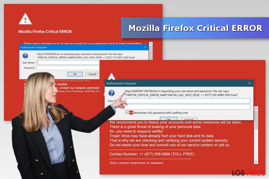 Imagen de la estafa Mozilla Firefox Critical ERROR