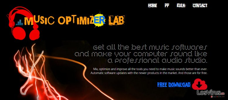 The picture showing MusicOptimizerLab ads