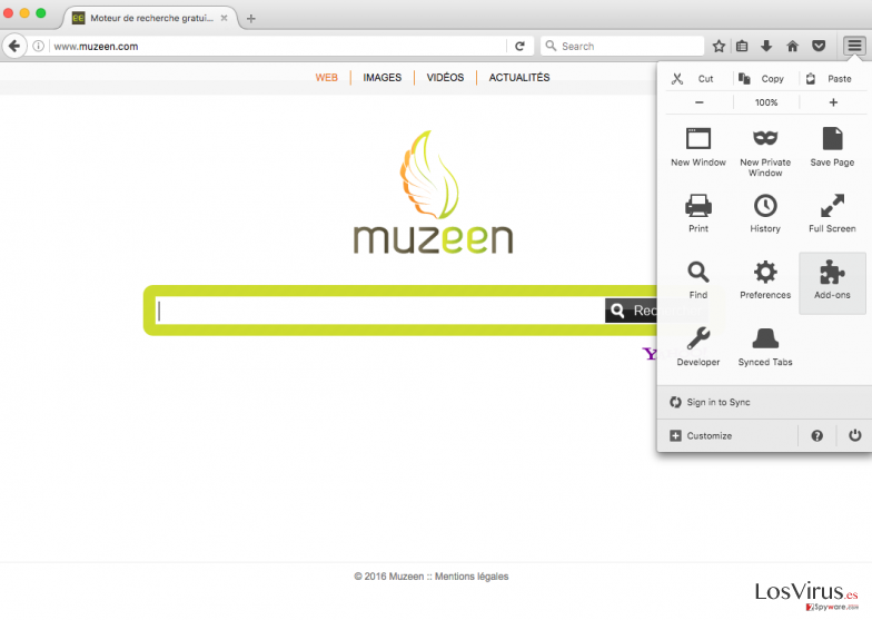The picture showing Muzeen hijack on Mozilla