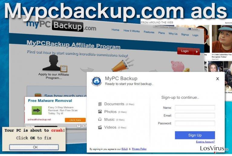 Los anuncios pop-up de Mypcbackup.com