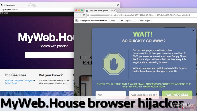 Example of MyWeb.House ads and the suspicious search engine