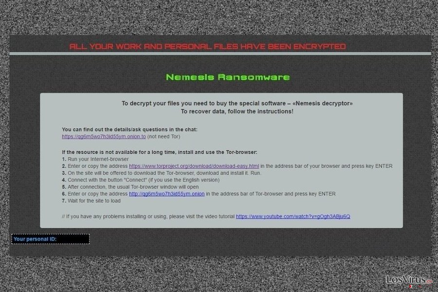 Nota de pago del virus Nemesis