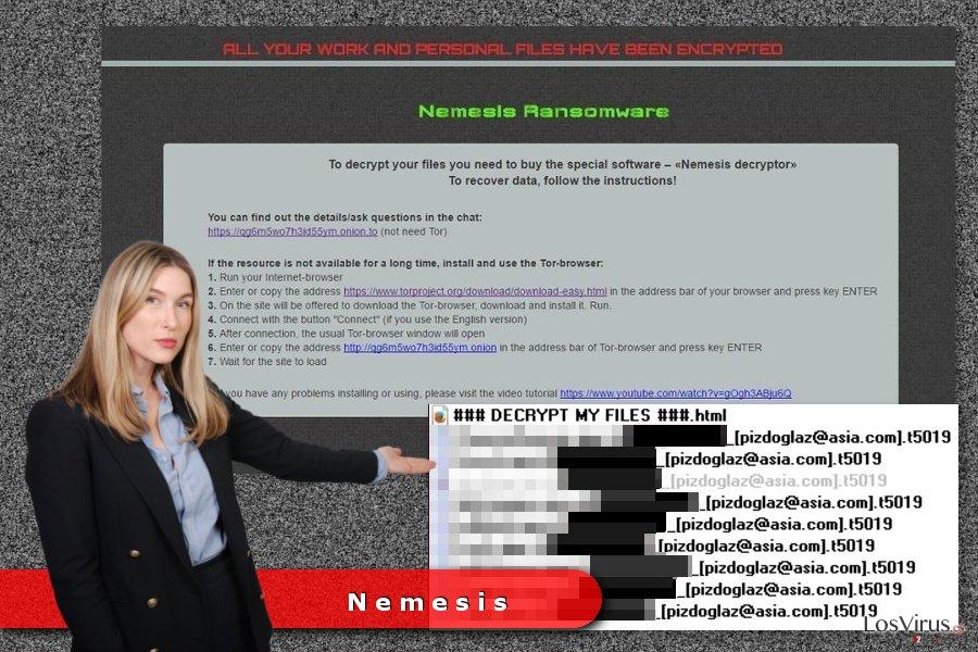Ejemplo del virus ransomware Nemesis