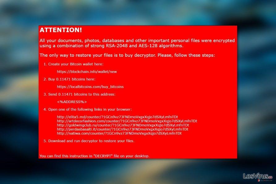 Virus ransomware Nemucod-AES