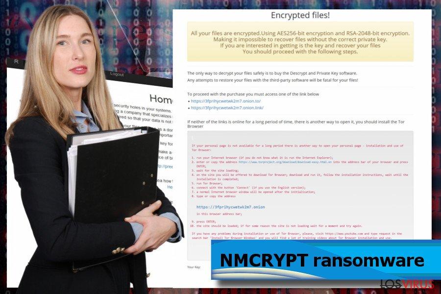 Pantallazos del ransomware NMCRYPT