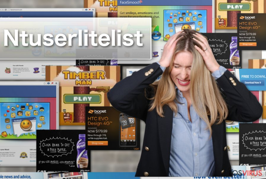 Ejemplo de los anuncios del adware Ntuserlitelist