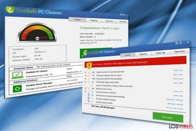 La imagen que muestra el programa OneSafe PC Cleaner