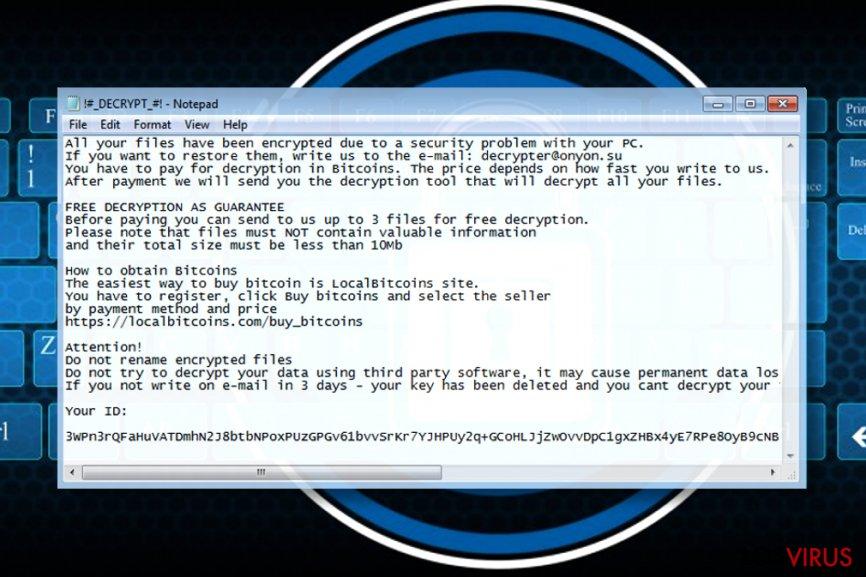 Nota del ransomware OnyonLock