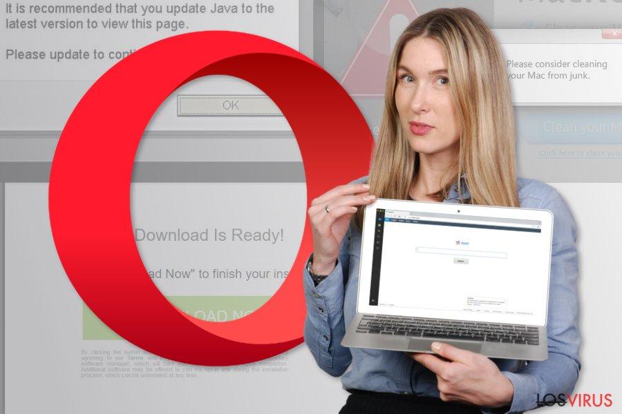 La imagen del virus de redirección de Opera