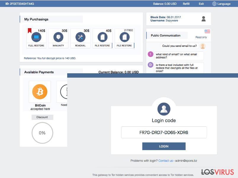 Asistencia de usuario y otras características del ransomware Spora