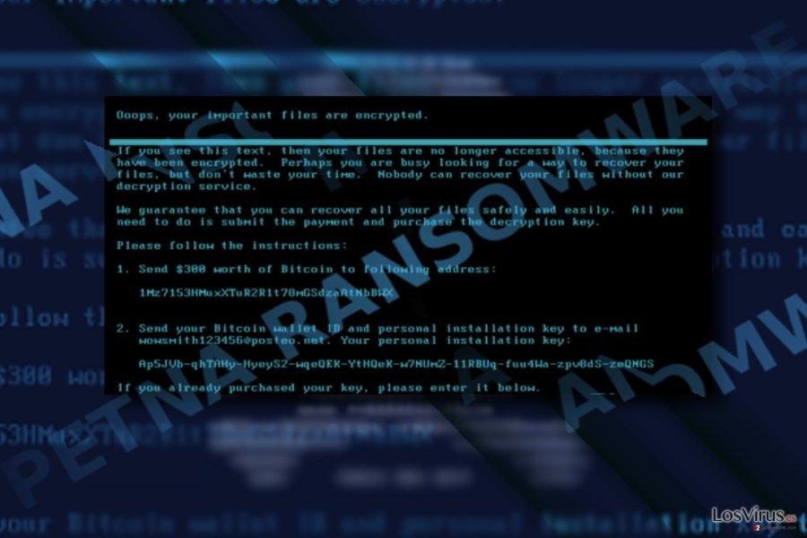 Captura de pantalla de la nota de pago de Petna
