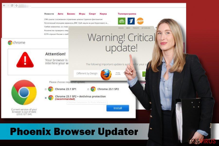 Mostrando el malware Phoenix Browser Updater