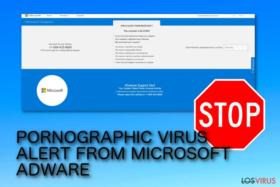 Estafa pop-up ALERTA DEL VIRUS PORNOGRAPHIC DE MICROSOFT