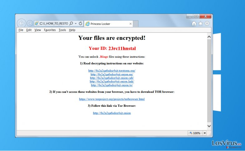 El virus ransomware Princess Locker foto