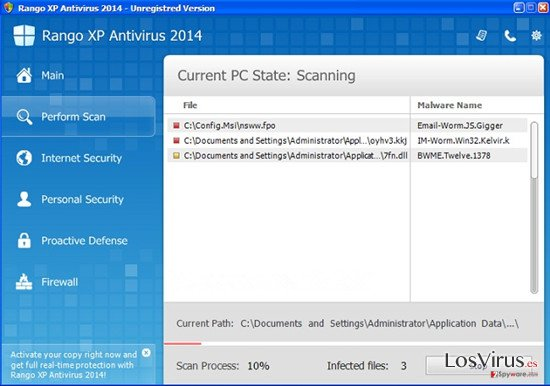 Rango XP Antivirus 2014 foto