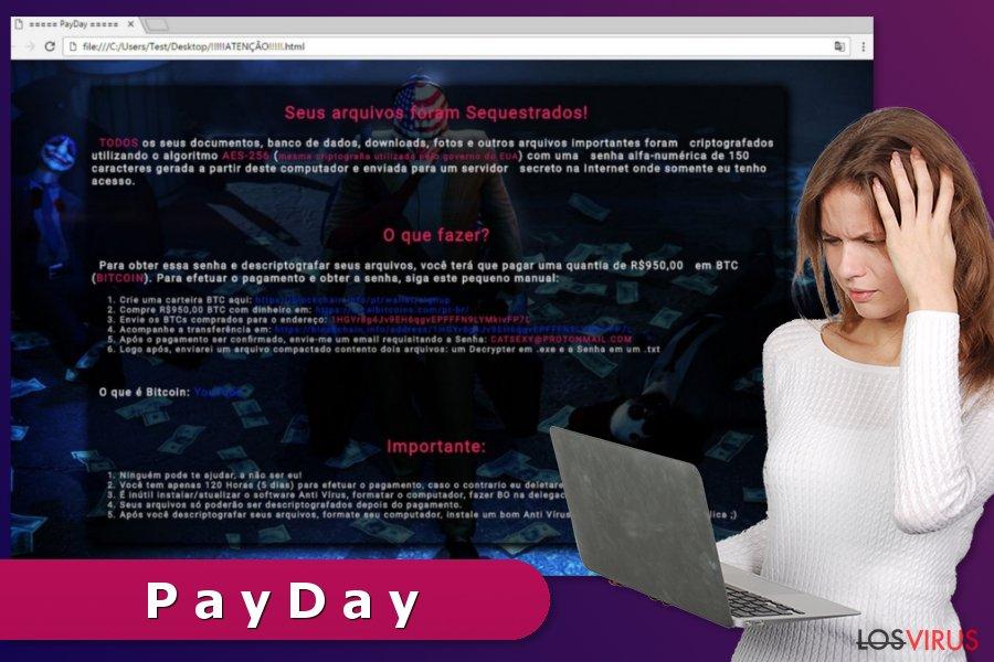 Nota de pago mostrada por el virus ransomware PayDay